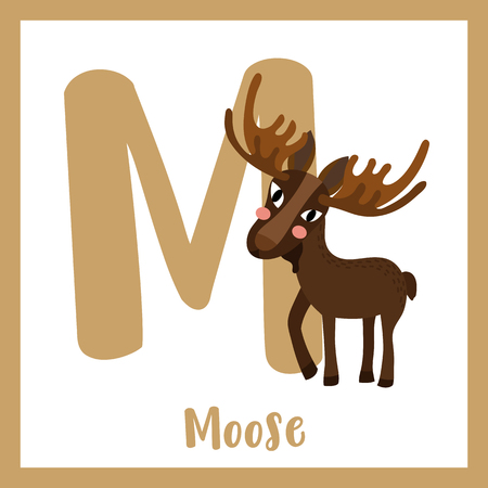 az: M letter vocabulary. Standing Moose. Cute children ABC zoo alphabet flash card. Funny cartoon animal. Kids abc education. Learning English vocabulary. Vector illustration. Illustration