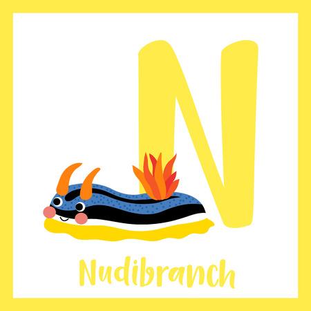 az: N letter vocabulary. Nudibranch. Cute children ABC zoo alphabet flash card. Funny cartoon animal. Kids abc education. Learning English vocabulary. Vector illustration.