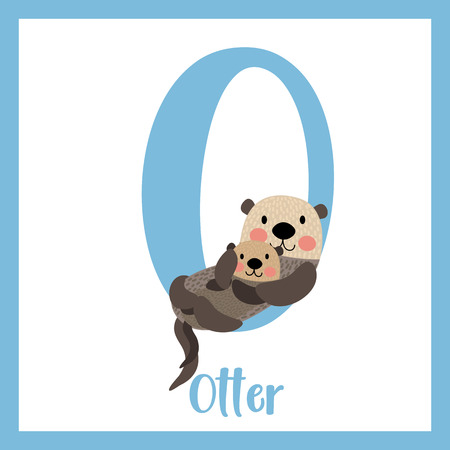 O letter vocabulary. Otter mother and child. Cute children ABC zoo alphabet flash card. Funny cartoon animal. Kids abc education. Learning English vocabulary. Vector illustration. Illustration
