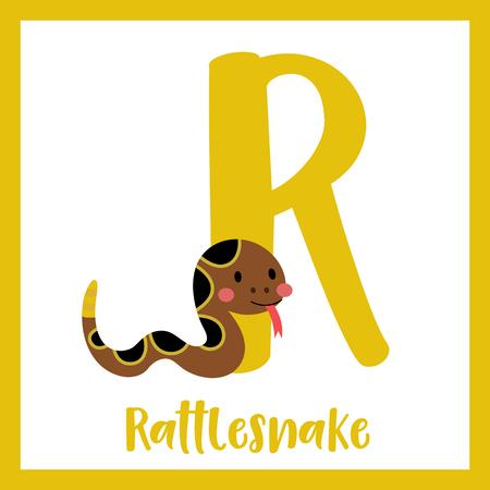 R letter vocabulary. Crawling Rattlesnake. Cute children ABC zoo alphabet flash card. Funny cartoon animal. Kids abc education. Learning English vocabulary. Vector illustration.