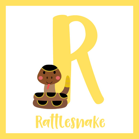 R letter vocabulary. Curled up Rattlesnake. Cute children ABC zoo alphabet flash card. Funny cartoon animal. Kids abc education. Learning English vocabulary. Vector illustration.
