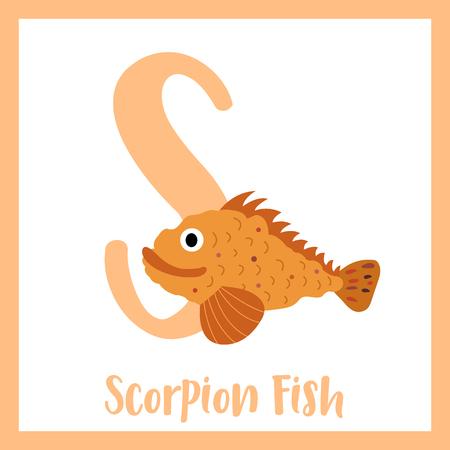 S letter vocabulary. Scorpion Fish. Cute children ABC zoo alphabet flash card. Funny cartoon animal. Kids abc education. Learning English vocabulary. Vector illustration.