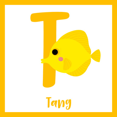 T letter vocabulary. Yellow Tang fish. Cute children ABC zoo alphabet flash card. Funny cartoon animal. Kids abc education. Learning English vocabulary. Vector illustration.