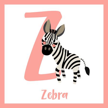 Z letter vocabulary. Zebra. Cute children ABC zoo alphabet flash card. Funny cartoon animal. Kids abc education. Learning English vocabulary. Vector illustration. 矢量图像
