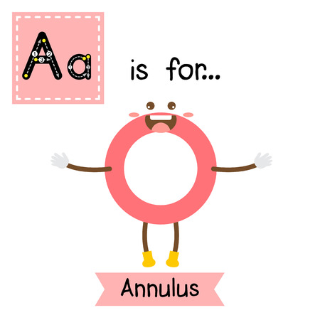 Letter A cute children colorful geometric shapes alphabet tracing flashcard of Annulus for kids learning English vocabulary.