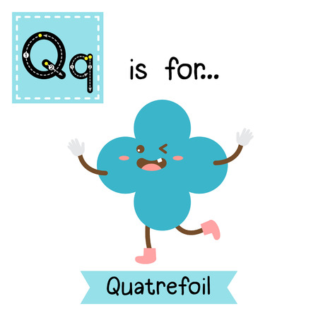 Letter Q cute children colorful geometric shapes alphabet tracing flashcard of Quatrefoil for kids learning English vocabulary. Ilustração