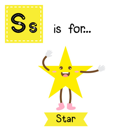 Letter S cute children colorful geometric shapes alphabet tracing flashcard of Star for kids learning English vocabulary.