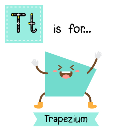 Letter T cute children colorful geometric shapes alphabet tracing flashcard of Trapezium for kids learning English vocabulary. Illustration