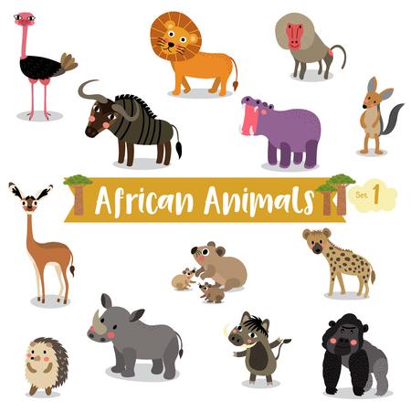 African Animals cartoon on white background, Vector illustration. Set 1.