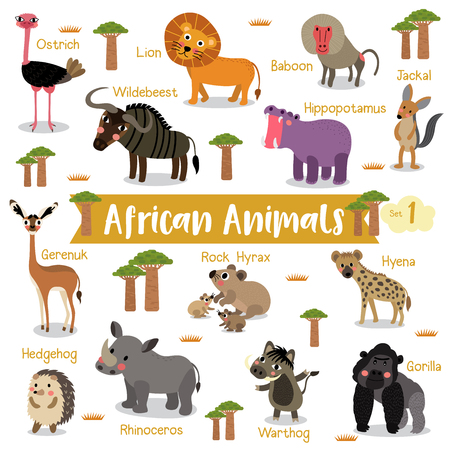 African Animals cartoon on white background with animal name, Vector illustration. Set 1.