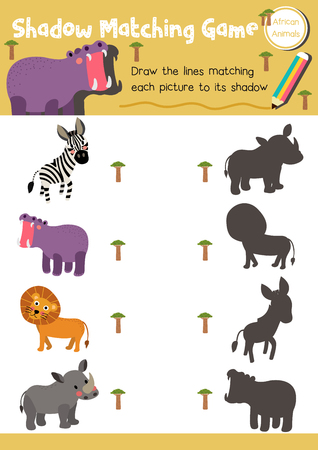 Shadow matching game of african animals for preschool kids activity worksheet layout in A4 colorful printable version. Çizim