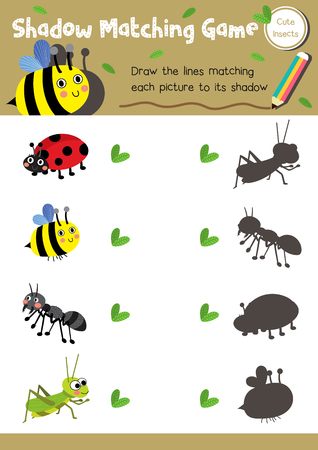 Shadow matching game of insect bug animals for preschool kids activity worksheet layout in A4 colorful printable version. 向量圖像