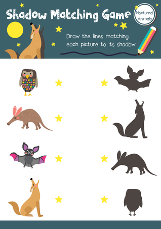 Shadow matching game of nocturnal animals for preschool kids activity worksheet layout in A4 colorful printable version.