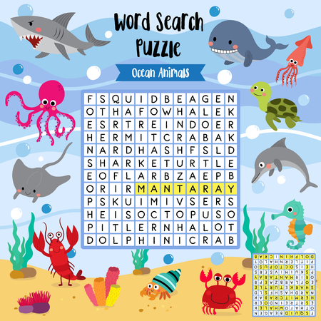Words search puzzle game of ocean animals for preschool kids activity worksheet layout in A4 colorful printable version. Vector Illustration.