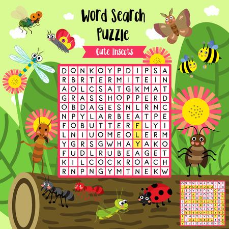 Wyszukiwarka słów gra logiczna owadów zwierzątka bug dla dzieci w wieku przedszkolnym schemat działania arkusza roboczego w kolorowej wersji do druku A4. Ilustracja wektorowa.