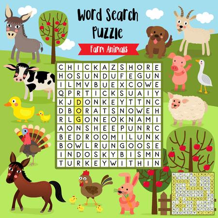 Wörter suchen Puzzlespiel von Vieh für Vorschulkinderaktivitätsarbeitsblattplan in der bunten druckbaren Version A4. Vektor-Illustration.
