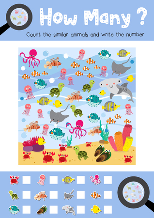 Counting game of ocean animals for preschool kids activity worksheet layout in A4 colorful printable version. Vector Illustration. Çizim