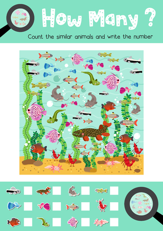Counting game of freshwater animals for preschool kids activity worksheet layout in A4 colorful printable version. Vector Illustration.