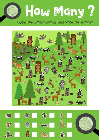 Zählen Spiel Von Insekt Bug Tiere Für Vorschule Kinder Aktivität ...