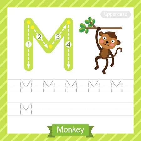 Letter M Uppercase Tracing Practice Worksheet With Monkey For ...