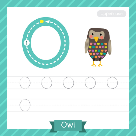 Letter O uppercase tracing practice worksheet with owl for kids learning to write. Illustration.