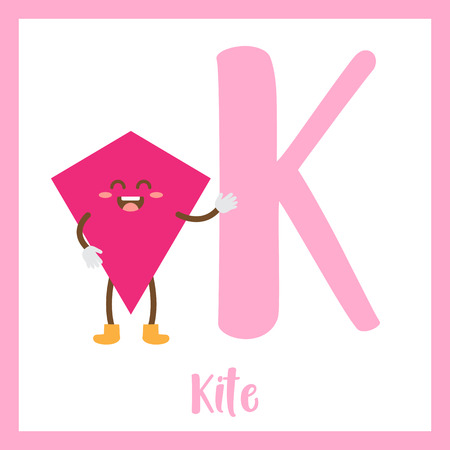 2d: Letter K cute children colorful geometric shapes alphabet flashcard of Kite for kids learning English vocabulary.