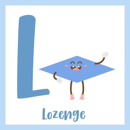 Lettera L bambini colorati forme geometriche alfabeto flashcard di Lozenge per bambini che imparano il vocabolario inglese.