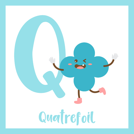 2d: Letter Q cute children colorful geometric shapes alphabet flashcard of Quatrefoil for kids learning English vocabulary. Illustration