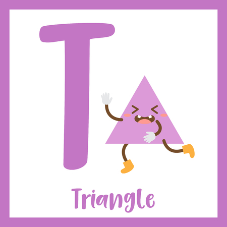 2d: Letter T cute children colorful geometric shapes alphabet flashcard of Triangle for kids learning English vocabulary.