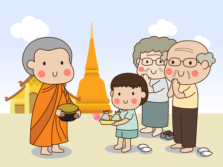 Buddhist novice holding alms bowl in his hands to receive food offering from standing boy and standing elderly couple with temple background. Illustration