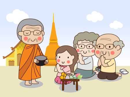 食品の提供を受信する彼の手の施しボールを保持している仏教の僧侶  イラスト・ベクター素材