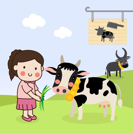 Meisje dat een koe voedt en het vee redt, leeft van het slachthuis en laat het op de boerderij.