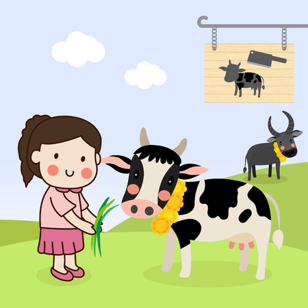 Girl feeding a cow and saving cattle lives from the Slaughterhouse and release them to farm. Illustration