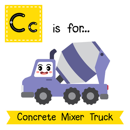 letter c: Letter C cute children colorful transportations alphabet tracing flashcard of Concrete Mixer Truck for kids learning English vocabulary. Illustration