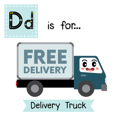 Letter D cute children colorful transportations alphabet tracing flashcard of Delivery Truck for kids learning English vocabulary. Stock Illustratie
