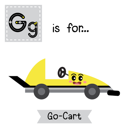 Letter G cute children colorful transportations alphabet tracing flashcard of Go-Cart for kids learning English vocabulary. Illustration