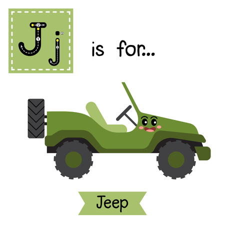 jeep: Letter J cute children colorful transportations alphabet tracing flashcard of Jeep for kids learning English vocabulary Vector Illustration.