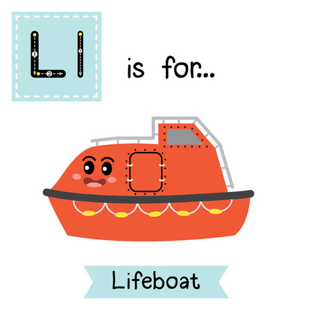 Letter L cute children colorful transportations alphabet tracing flashcard of Lifeboat for kids learning English vocabulary Vector Illustration. Illustration