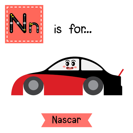 nascar: Letter N cute children colorful transportations alphabet tracing flashcard of Nascar for kids learning English vocabulary Vector Illustration. Illustration