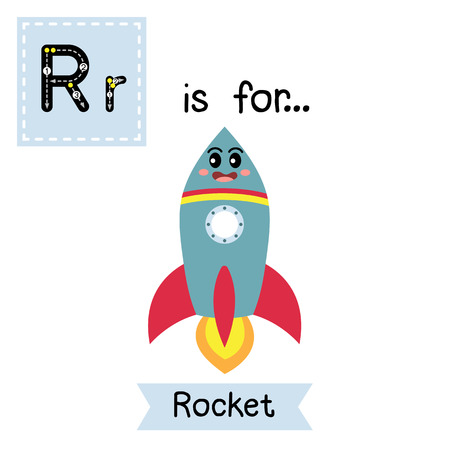 r transportation: Letter R cute children colorful transportations alphabet tracing flashcard of Rocket for kids learning English vocabulary Vector Illustration. Illustration