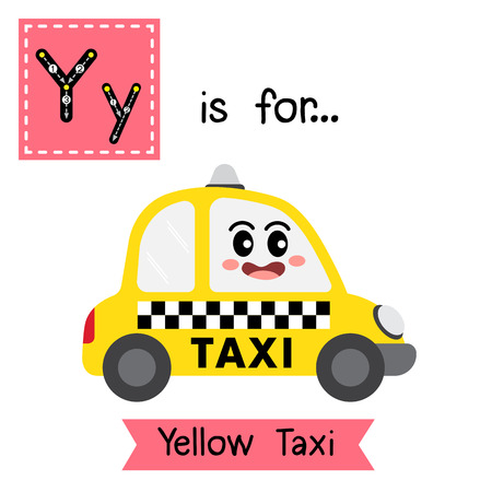 Letter Y cute children colorful transportations alphabet tracing flashcard of Yellow Taxi for kids learning English vocabulary Vector Illustration.
