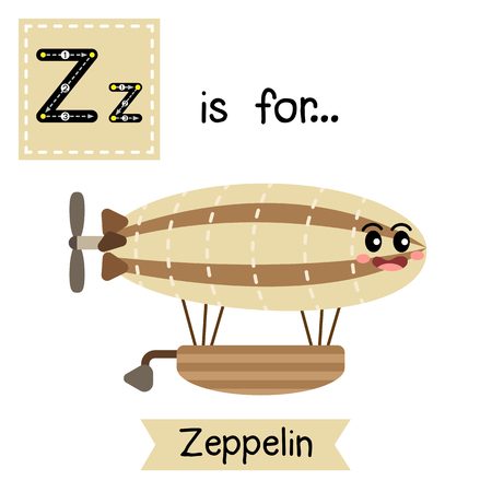 blimp: Letter Z cute children colorful transportations alphabet tracing flashcard of Zeppelin for kids learning English vocabulary Vector Illustration.