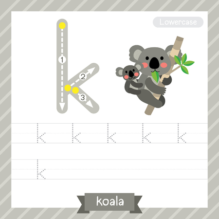 Letter K lowercase tracing practice worksheet with koala for kids learning to write. Vector Illustration.