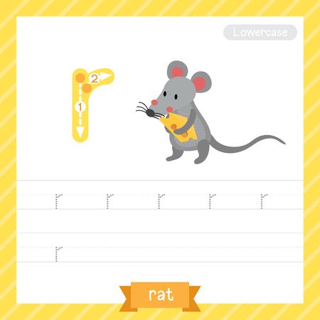 Letter R 쓰기를 배우는 아이들을위한 쥐와 함께 소문자 추적 연습 워크 시트. 벡터 일러스트 레이 션. 일러스트