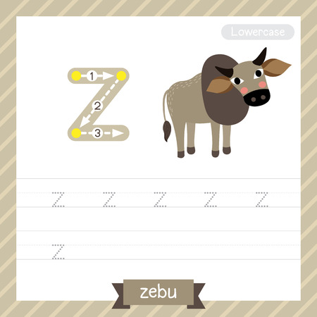 Letter Z lowercase tracing practice worksheet with zebu for kids learning to write.