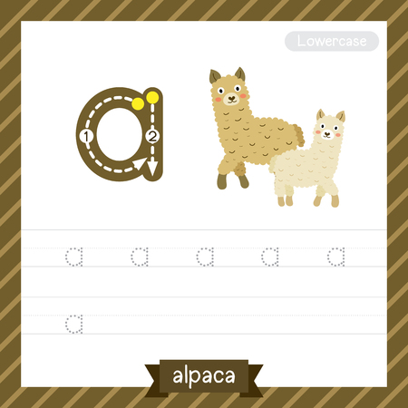Letter A lowercase tracing practice worksheet with alpaca for kids learning to write.
