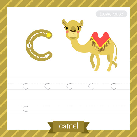 letter c: Letter C lowercase tracing practice worksheet with camel for kids learning to write.
