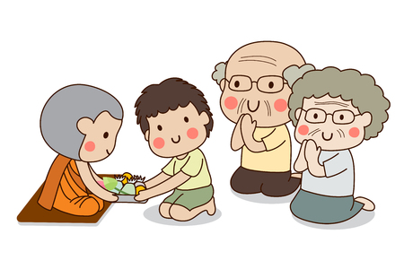 Boy and elderly couple sitting and offering food to Buddhist monk with white background.