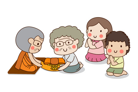 불교 노인 여성과 어린이 흰색 배경 가진 레인 스 퇴각 또는 카 오 팬 사를 위해 승려에게 예복을 제공합니다.