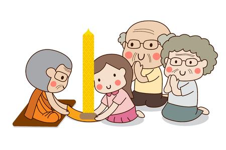 Meisje en bejaard echtpaar aanbieden van Boeddhistische uitgeleende kaars aan monnik voor Rains Retreat of Khao Phansa met witte achtergrond.